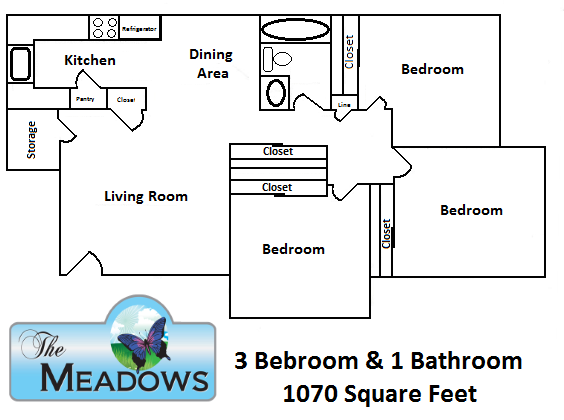 3 Bedroom / 1 Bath