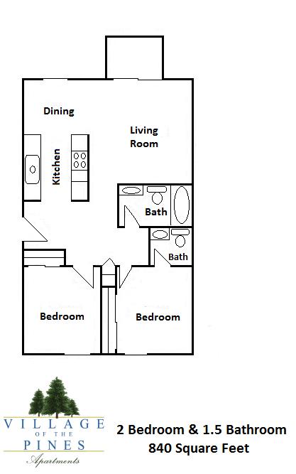 2 Bedroom / 1.5 Bath