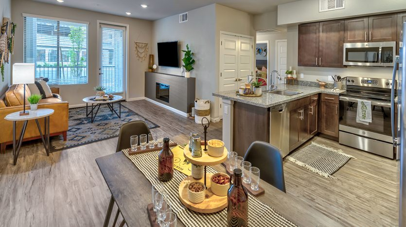 Carson Hills Apartments - Carson City NV - Two Bedroom - Living Room & Kitchen