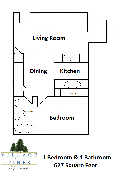 1 Bedroom / 1 Bath Large