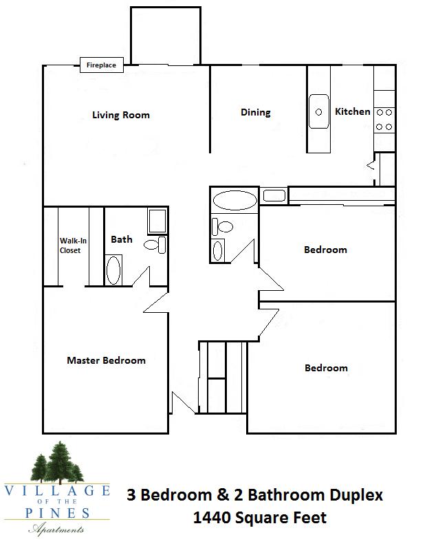 3 Bedroom / 2 Bath Duplex